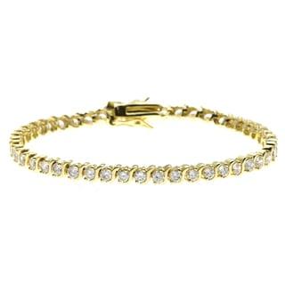 Simon Frank 4.62ct. 14K Gold Overlay CZ Diamoness Bracelet