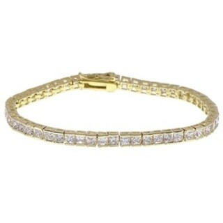 Simon Frank Design Princess Cut White Gold Overlay CZ Tennis Bracelet