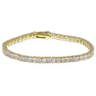 Simon Frank Design Princess Cut Yellow Gold Overlay CZ Tennis Bracelet