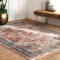 nuLOOM Traditional Vintage Kadzia Ombre Medallion Fringe Border Area Rug
