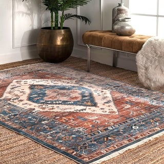 The Curated Nomad Dirk Traditional Tribal Medallion Fringe Area Rug