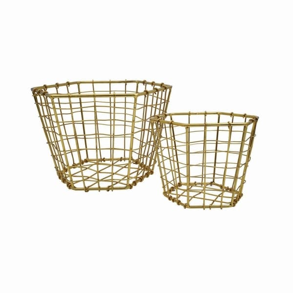Hexagon Brass Plated Baskets, Set of 2