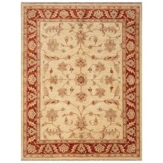 Handmade Vegetable Dye Oushak Wool Rug (Afghanistan) - 5' x 6'5