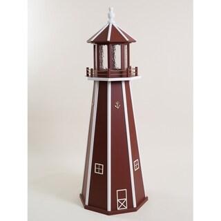 Burgundy & White Poly Lumber Lighthouse w/ Solar Light