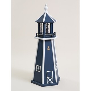 Navy Blue & White Poly Lumber Lighthouse w/ Solar Light