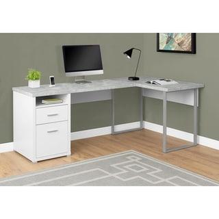 "Computer Desk - 80""L White / Cement-Look Left/Right Face"