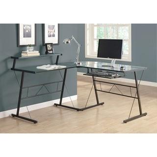 Black Metal Tempered Glass L-shaped Corner Computer Desk