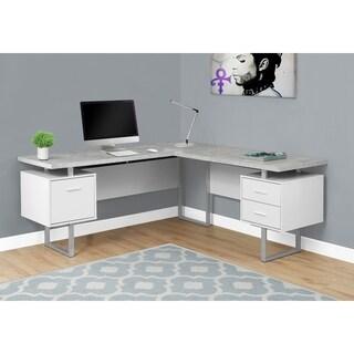 "Computer Desk - 70""L White / Cement-Look Left/Right Face"