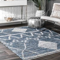 The Curated Nomad Rizal Handwoven Cotton Geo Striped Area Rug