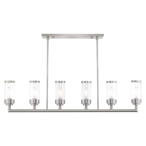 "Livex Lighting Hillcrest 6-Light Brushed Nickel Linear Chandelier - 48""L x 4.5""W x 21.5""-39.5""Adj. H"