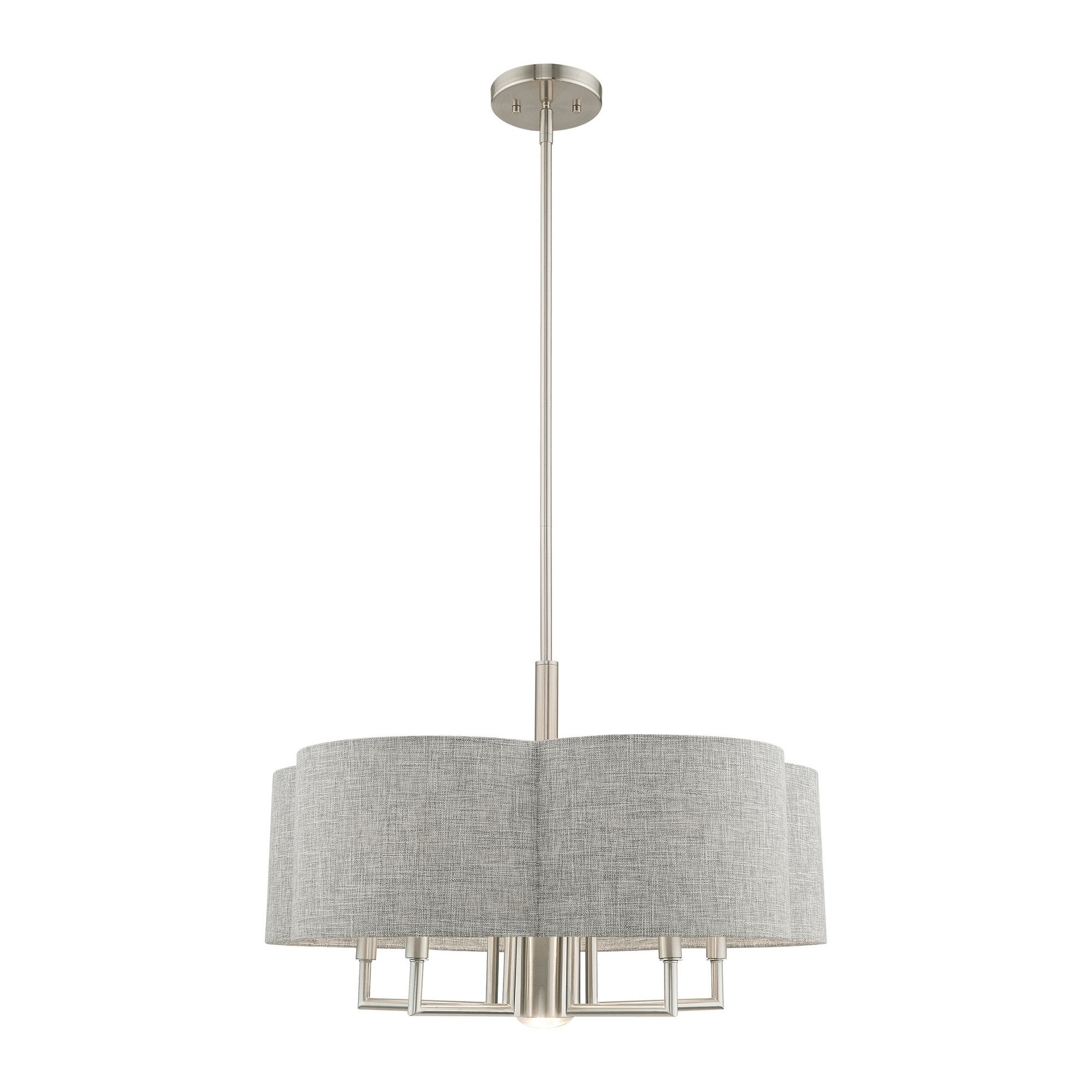Livex Lighting Kalmar 6 Light Brushed Nickel Pendant Chandelier 24 Dia X 17 5 53 Adj H