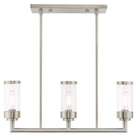 "Livex Lighting Hillcrest 3-Light Brushed Nickel Linear Chandelier - 27.75""L x 4.5""W x 21.5""-39.5""Adj. H"