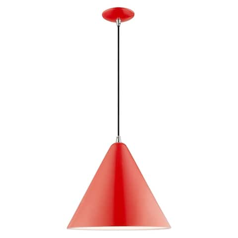 "Livex Lighting Metal Cone Shade 1-Light Mini Pendant - 14""Dia. x 18""-75""Adj. H - 14""Dia. x 18""-75""Adj. H"