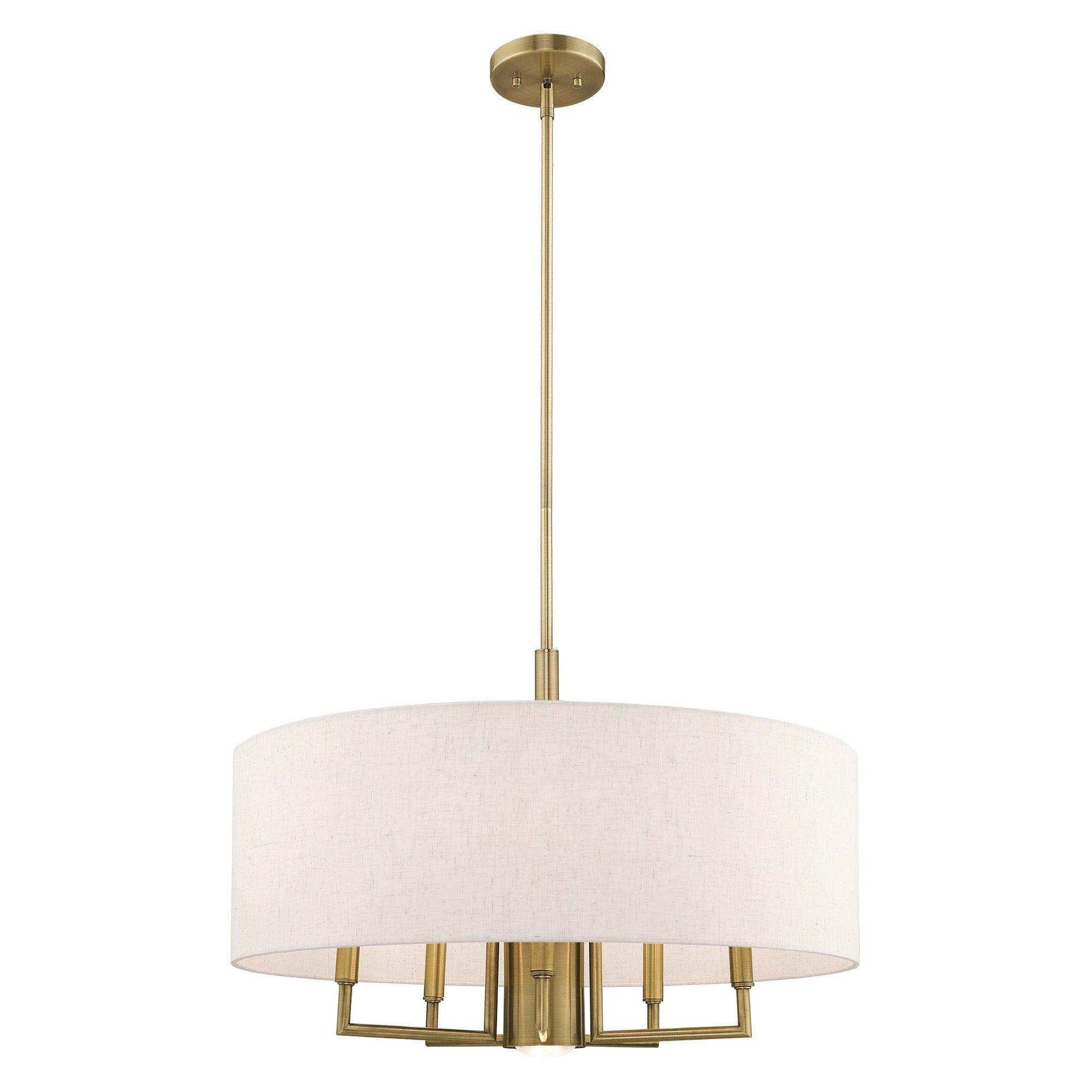 Livex Lighting Meridian 6 Light Oatmeal Drum Shade Pendant Chandelier 24 Dia X 5 54 Adj H