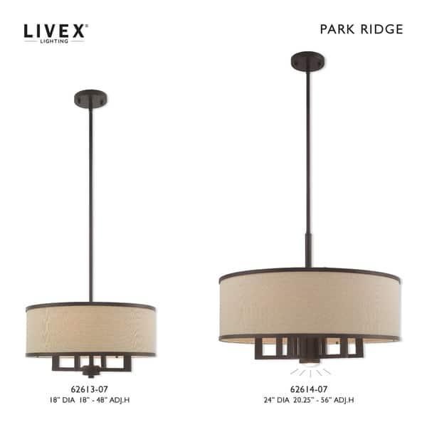 Livex Lighting Park Ridge Ash Gray Drum Shade 7 Light