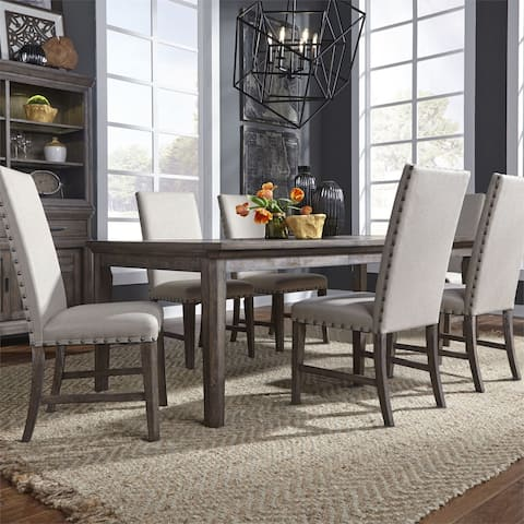 Copper Grove Wirebrushed Aged Oak 7-piece Rectangular Table Set