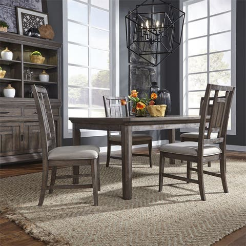 Copper Grove Letampon Wire-brushed Aged Oak 5-piece Rectangular Table Set