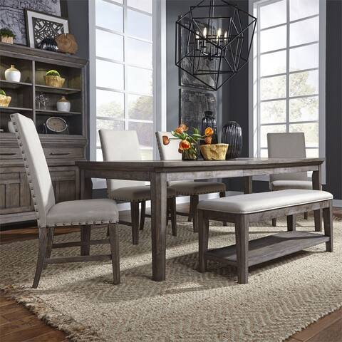 Copper Grove Letampon Wire-brushed Aged Oak 6-piece Rectangular Table Set