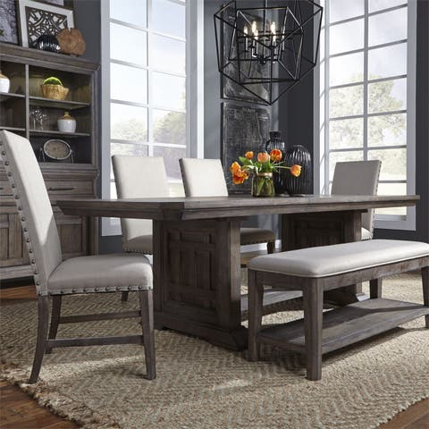 Copper Grove Letampon Wire-brushed Aged Oak 6-piece Trestle Table Set