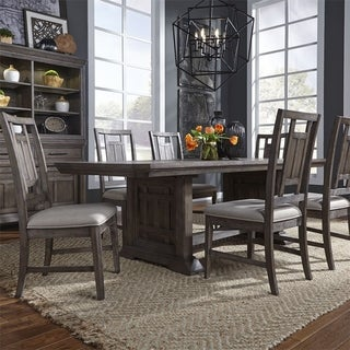 Copper Grove Debelets Wirebrushed Aged Oak 7-piece Trestle Table Set