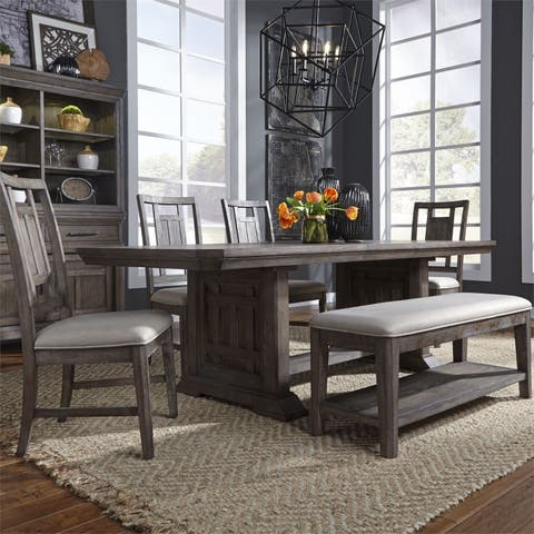 Copper Grove Debelets Wirebrushed Aged Oak 6-piece Trestle Table Set