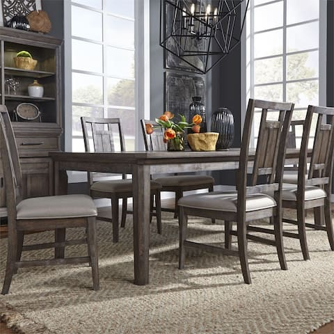 Copper Grove Letampon Wirebrushed Aged Oak 7-piece Rectangular Table Set