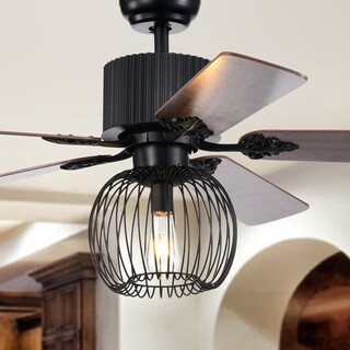 Aguano Black 52-inch Lighted Ceiling Fan (remote controlled)