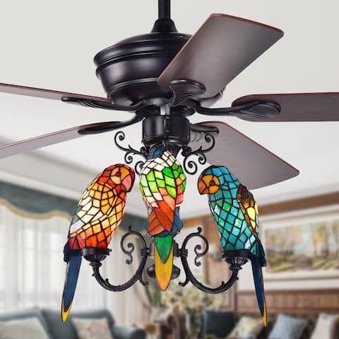 Korubo 3-light 52-inch Lighted Ceiling Fan Tiffany Style Parrot Shades (Remote Controlled & 2 Color Option Blades)