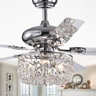 Pocra 49-inch Chrome Lighted Ceiling Fan with Crystal Basket Shade (remote controlled)