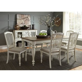 The Gray Barn Lost Cove Nutmeg and White 7-piece Rectangular Table Set