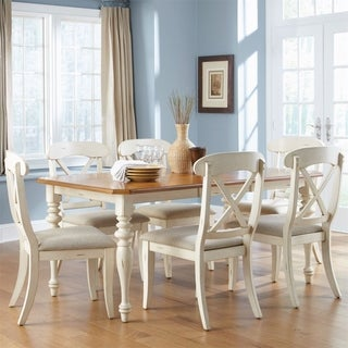 The Gray Barn Touchstone Bisque with Natural Pine 7-piece Rectangular Table Set