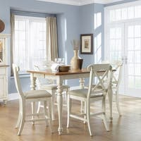 Ocean Isle Bisque with Natural Pine 5-piece Gathering Table Set