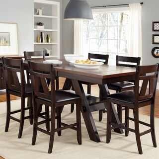 Lawson Light and Dark Expresso 7-piece Counter Height Gathering Table Set