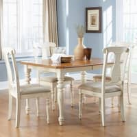 Ocean Isle Bisque with Natural Pine 5-piece Rectangular Table Set