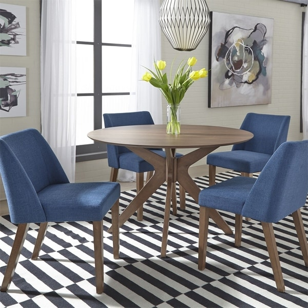 14 Space Saving Small Kitchen Table Sets 2019: Shop Space Savers Satin Walnut 5-Piece Pedestal Table Set