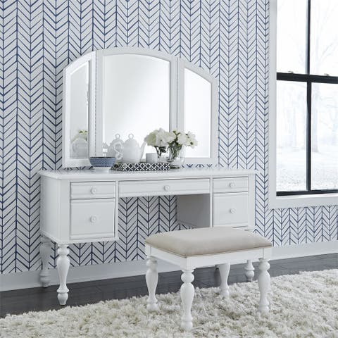 Summer House I Oyster White Vanity Desk