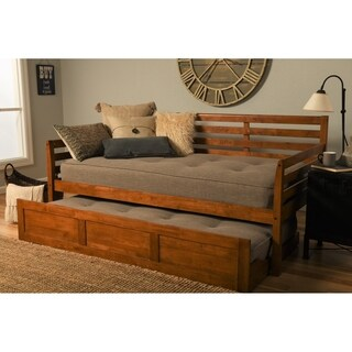 Pine Canopy Silene Daybed with Trundle and Linen Stone Mattresses