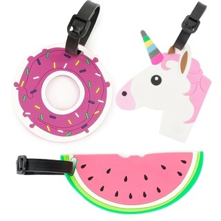AGT 3-Pack Donut, Unicorn, Watermelon Luggage Tags