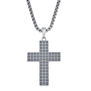 Mens Cross Patterned Pendant in Stainless Steel