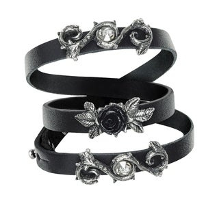 Alchemy Gothic Adjustable Black Leather Rose Of Perfection Wristrap with White Crystals - One Size