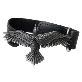 Alchemy Gothic Adjustable Black Leather Consort Wriststrap with Highlighted Trailing Edge Feathers - One size