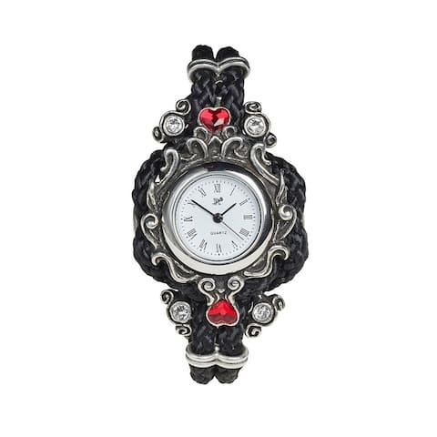 Alchemy Gothic Christmas Decorative Gift Black Braid Adjustable Affiance Watch with Clear and Red Crystals