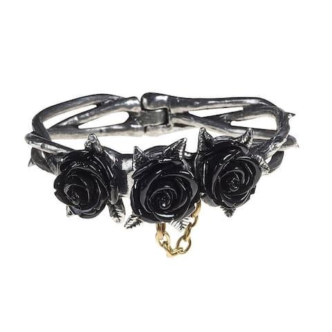 Alchemy Gothic Mysterious Thorny Detachable Wild Black Rose Bracelet with Hidden Magnet - Small/Medium