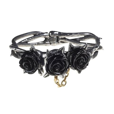 Alchemy Gothic Mysterious Thorny Detachable Wild Black Rose Bracelet with Hidden Magnet - Medium/Large