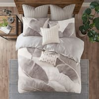 INK+IVY Charlotte Grey/ White Cotton Twill Leaf Print Duvet Cover Set