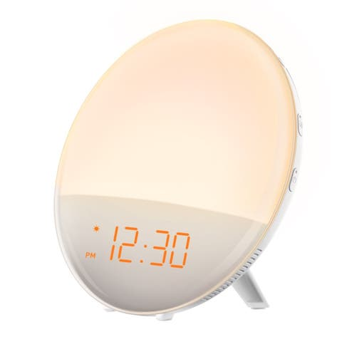 Mpow Wake-Up Light Alarm Clock with Sunrise Simulation, Dual Alarm 6 Natural Sounds, FM Radio