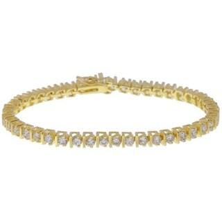 Simon Frank Designs Line Bar Silvertone CZ Tennis Bracelet