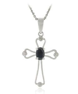 Glitzy Rocks Sterling Silver Sapphire Diamond Cross Necklace