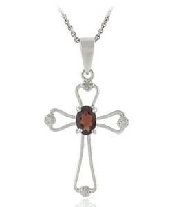 Glitzy Rocks Sterling Silver Garnet Diamond Cross Necklace