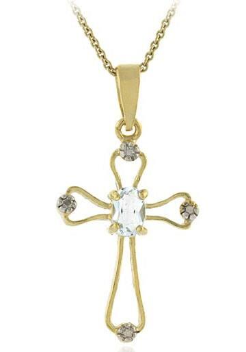 Glitzy Rocks 18k Gold Overlay Blue Topaz Diamond Necklace